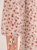 Rozkloszowana sukienka damska, kreacja z ozdobnym kołnierzem 28214
