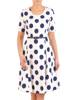 Rozkloszowana sukienka damska w granatowe grochy 29102