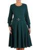 Rozkloszowana sukienka z dzianiny, zielona kreacja z paskiem 23352