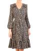 Rozkloszowana sukienka z ozdobnymi falbanami w zwierzęcym wzorze 31091