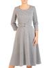 Rozkloszowana sukienka z paskiem, jesienna kreacja z bawełny 30535