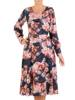Rozkloszowana sukienka z paskiem, kreacja w kwiaty 27188