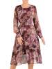 Rozkloszowana szyfonowa sukienka z paskiem, kreacja w kwiaty 27337