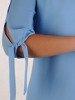 Sukienka damska, błękitna kreacja z oryginalnymi rękawami 26135