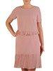 Sukienka damska, pudrowa kreacja z ozdobnymi plisami 25996