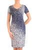 Sukienka w ciekawy wzór, prosty fason z dekoltem w serek 28819