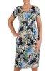 Sukienka w kwiaty, prosty fason z dekoltem w serek 25710