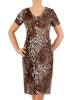 Sukienka w panterkę, prosty fason z dekoltem w serek 28831