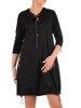 Sukienka z dzianiny, czarna kreacja w nowoczesnym fasonie 26052