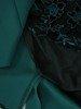 Sukienka z koronkową wstawką, szmaragdowa kreacja wyszczuplająca 24812