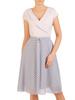Sukienka z modnym kołnierzem, kreacja z szyfonowymi dołem 30579
