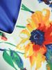 Szyfonowa, chabrowa sukienka w kwiaty maskująca niedoskonałości 30797