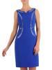 Wieczorowa chabrowa sukienka z połyskującymi dżetami 27468