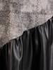 Wizytowa, popielata sukienka z czarnymi wstawkami z ekoskóry 28127