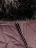 Wrzosowa kurtka damska z ozdobnym futerkiem 31029