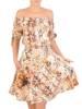 Wzorzysta sukienka z odkrytymi ramionami 29324