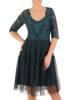 Zielona efektowna, koronkowa sukienka z tiulowym dołem 27983